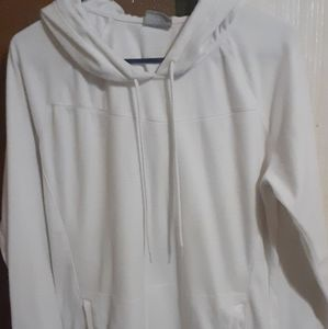 XL COLUMBIA FLEECE OFF WHITE PULL OVER HOODIE
